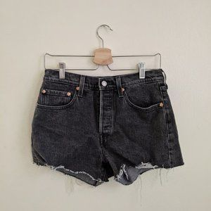 Levi 501 black high waisted shorts